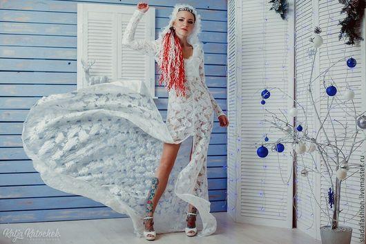 Платья ручной работы. Ярмарка Мастеров - ручная работа. Купить Кружевное платье Венера. Handmade. Белый, платье со шлейфом