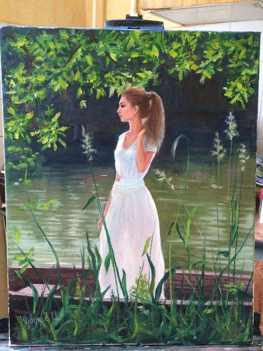 Люди, ручной работы. Ярмарка Мастеров - ручная работа. Купить портрет дочери Ксении. Handmade. Комбинированный, масло, портрет, девушка