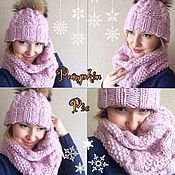 Аксессуары handmade. Livemaster - original item Hat and cowl from Merino and Alpaca