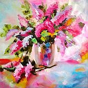 Картины и панно handmade. Livemaster - original item Oil painting Bouquet of lilac in a vase. Handmade.