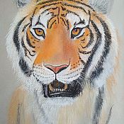Картины и панно handmade. Livemaster - original item Picture of a tiger Tiger picture with pastels. Handmade.