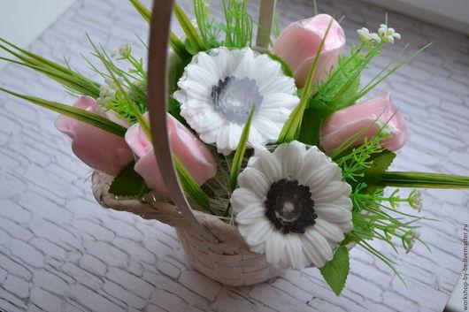 Мыло ручной работы. Ярмарка Мастеров - ручная работа. Купить Букет из мыла 3 герберы и 4 розы в корзинке с вариантами расцветок. Handmade.