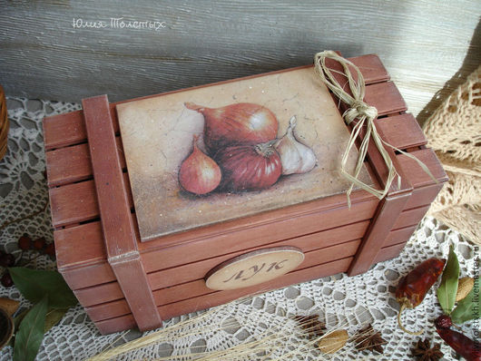 Кухня ручной работы. Ярмарка Мастеров - ручная работа. Купить Ящик для лука и чеснока. Handmade. Коричневый, для дачи, овощи