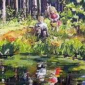 Картины и панно ручной работы. Ярмарка Мастеров - ручная работа Лес и лесное озеро Картина холст масло. Handmade.