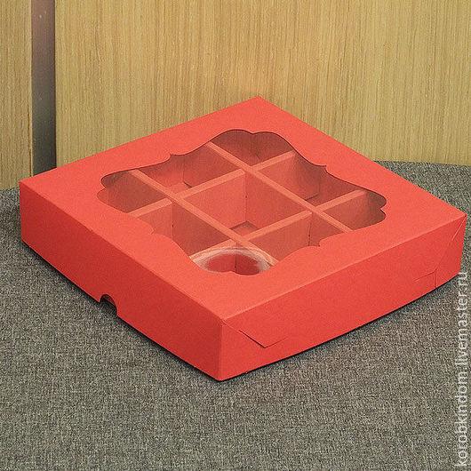 Упаковка ручной работы. Ярмарка Мастеров - ручная работа. Купить Коробка 16х16х3,5 с ячейками и окном красная крышка-дно. Handmade.