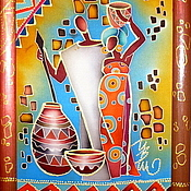 """Картины и панно ручной работы. Ярмарка Мастеров - ручная работа Панно-батик """"Африканские сюжеты """". Handmade."""