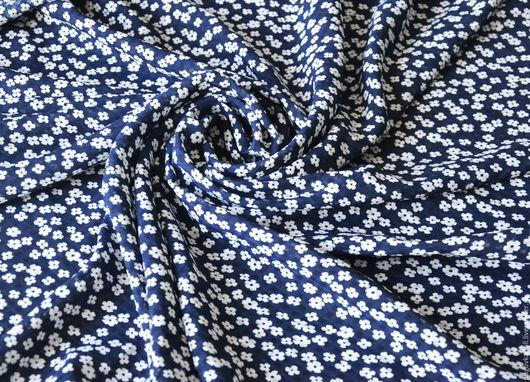 Шитье ручной работы. Ярмарка Мастеров - ручная работа. Купить Хлопок Ромашки на синем. Handmade. Синий, хлопок, хлопок 100%