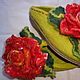 Обувь ручной работы. Ярмарка Мастеров - ручная работа. Купить Тапочки шлепки валяные из шерсти Роза алая. Handmade. Роза