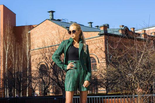 """Костюмы ручной работы. Ярмарка Мастеров - ручная работа. Купить Костюм """"кутюр"""" зеленый с шортами. Handmade. Зеленый, зеленый костюм"""