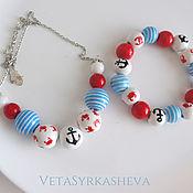 Украшения handmade. Livemaster - original item Set starfish pendant bracelet hand-painted beads. Handmade.