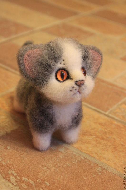 Игрушки животные, ручной работы. Ярмарка Мастеров - ручная работа. Купить Валяная игрушка котенок Смоки. Handmade. Серый, котенок