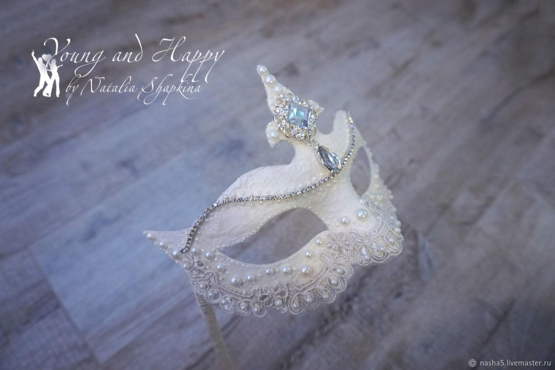A wedding Venetian mask with rhinestones