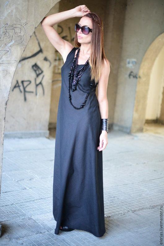 Длинное платье. Платье из льна.Одежда для полных женщин.