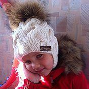 Работы для детей, ручной работы. Ярмарка Мастеров - ручная работа Шапочка с большим помпоном енот натуральный. Handmade.