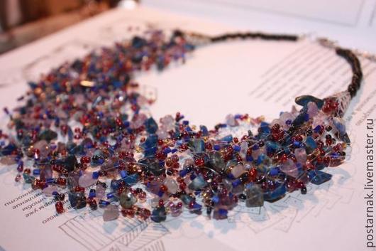 """Колье, бусы ручной работы. Ярмарка Мастеров - ручная работа. Купить Колье """"Ирис"""". Handmade. Колье с камнями, сине-фиолетовый"""