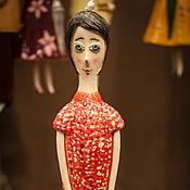 """Куклы и игрушки ручной работы. Ярмарка Мастеров - ручная работа Кукла-колокольчик """"Девушка со шляпкой в руках"""". Handmade."""