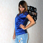 """Одежда ручной работы. Ярмарка Мастеров - ручная работа Блузка из атласа и шифона """"Анни""""  - синяя. Handmade."""