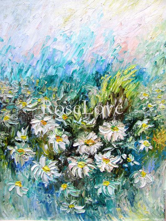 Картина `Белоснежный танец ромашек..`(Масло)Катерины Аксеновой. ромашки,поле,танец,ромашковое поле,пейзаж,белый синий зеленый,купить ромашки картины маслом,купить картину ромашки,картина на холсте мас