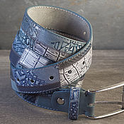 Аксессуары handmade. Livemaster - original item Denim leather belt blue Gray, width 3,4 cm. Handmade.