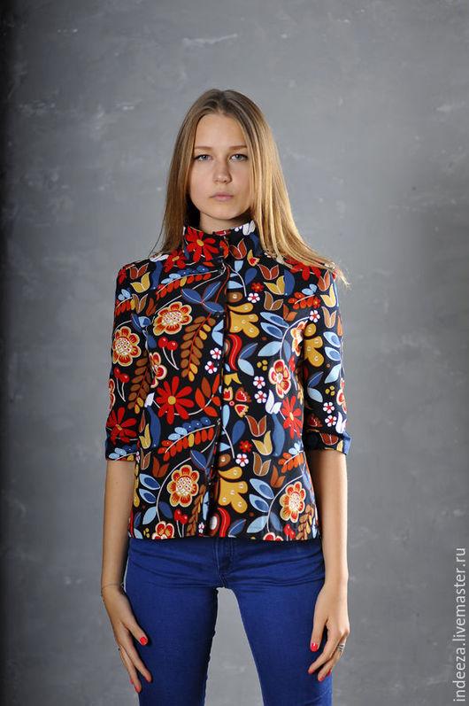 """Пиджаки, жакеты ручной работы. Ярмарка Мастеров - ручная работа. Купить Жакет """"Гербарий"""". Handmade. Разноцветный, хлопок"""
