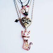 Винтаж ручной работы. Ярмарка Мастеров - ручная работа резерв! Ожерелье от Бетси Джонсон - кошка с мышкой и любовь))). Handmade.
