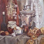 Картины ручной работы. Ярмарка Мастеров - ручная работа Натюрморт с самоваром, баранками, чесноком маслом. Handmade.