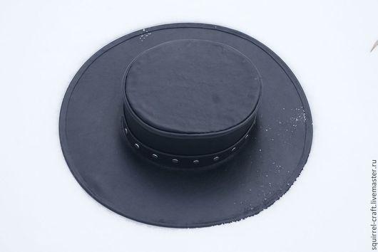 Ролевые игры ручной работы. Ярмарка Мастеров - ручная работа. Купить Кожаная шляпа с прямой тульей. Handmade. Черный, подарок