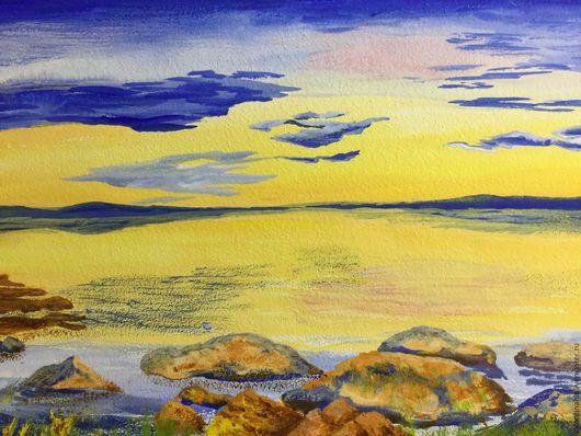 """Пейзаж ручной работы. Ярмарка Мастеров - ручная работа. Купить картина """"Весенний восход"""" (желтый, синий). Handmade. Картина, акварель"""