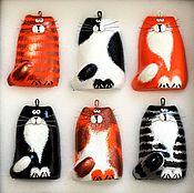 Подарки к праздникам handmade. Livemaster - original item Set of Christmas toys Cats red-black-white. Handmade.