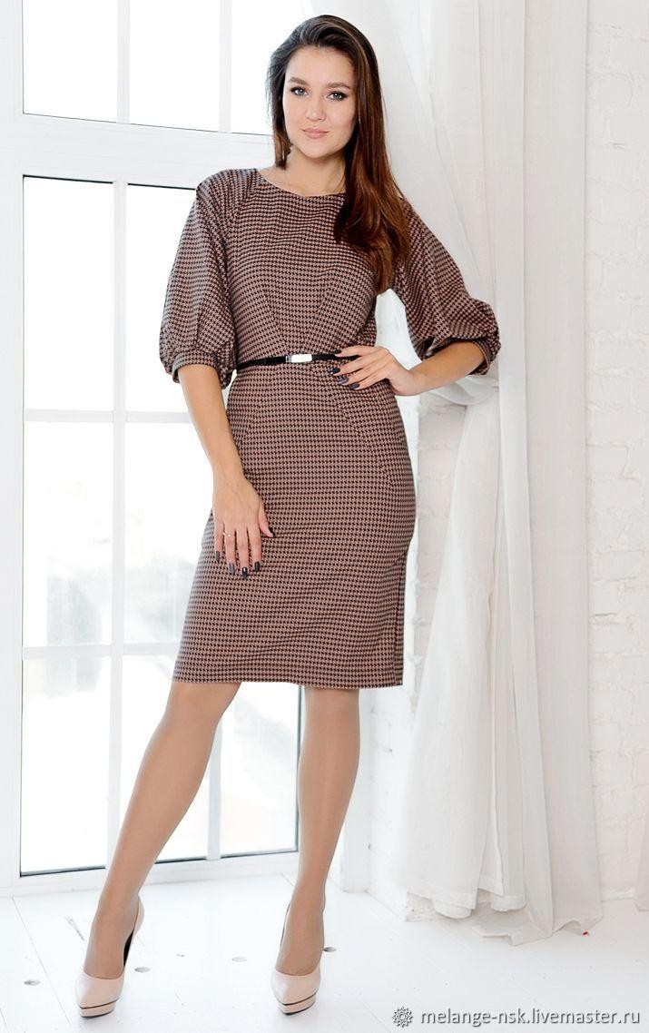 Стильное платье для офиса. Принт гусиная лапка, Платья, Новосибирск,  Фото №1