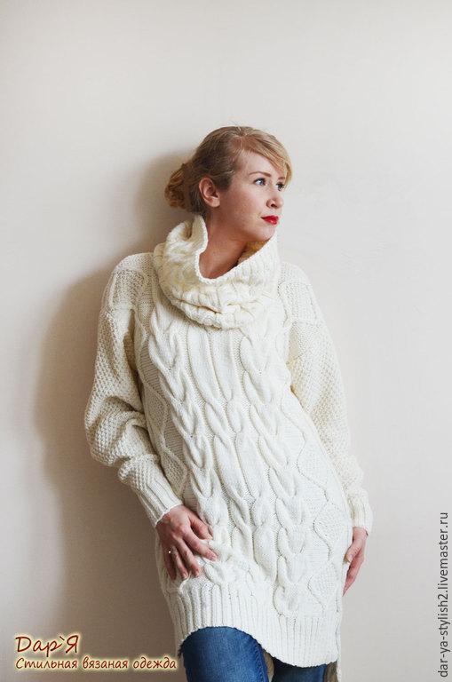 """Кофты и свитера ручной работы. Ярмарка Мастеров - ручная работа. Купить Комплект """"Айвори"""" Вязаное платье-пуловер + воротник хомут. Handmade."""