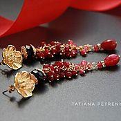 Украшения handmade. Livemaster - original item Ruby Elegance cluster earrings ruby, amethyst, Goldfield 24K.. Handmade.