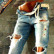 """Одежда ручной работы. Ярмарка Мастеров - ручная работа Рваные джинсы """"Rodeo"""". Handmade."""