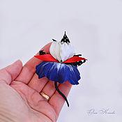 Украшения handmade. Livemaster - original item Iris leather brooch small flower marine style blue red white. Handmade.