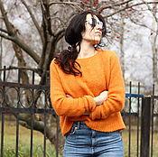 Одежда ручной работы. Ярмарка Мастеров - ручная работа Теплый пушистый джемпер с удлиненными рукавами. Handmade.