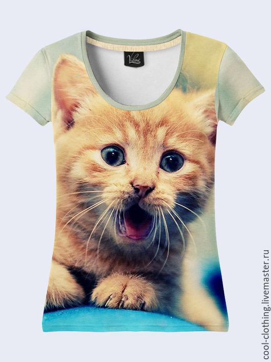 """Футболки, майки ручной работы. Ярмарка Мастеров - ручная работа. Купить Женская футболка """"Рыжий котенок"""". Handmade. Рисунок"""