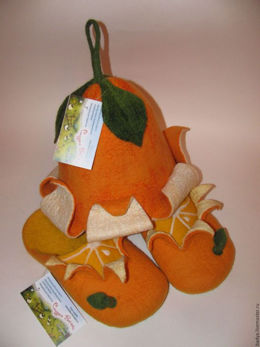 Банные принадлежности ручной работы. Ярмарка Мастеров - ручная работа. Купить Апельсиновая шапочка и тапочки  для бани. Handmade. Оранжевый