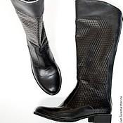"""Обувь ручной работы. Ярмарка Мастеров - ручная работа Сапоги """"Плетенка"""" в черном. Handmade."""
