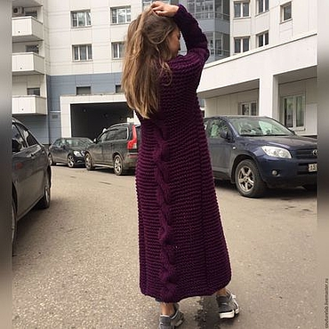 Одежда ручной работы. Ярмарка Мастеров - ручная работа Женский бордовый кардиган с косой. Handmade.