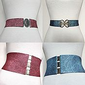 Аксессуары handmade. Livemaster - original item Belt-gum Marble Bordeaux Silver Blue, different height different price. Handmade.