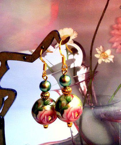 Серьги Тенша ,,Розы чайные,, Швензы позолоченное серебро с пробой. Ручная работа. Мастер Натэлла Шемякина.