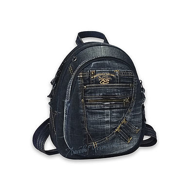 Bags and accessories handmade. Livemaster - original item Copy of Denim backpack Denim_. Handmade.