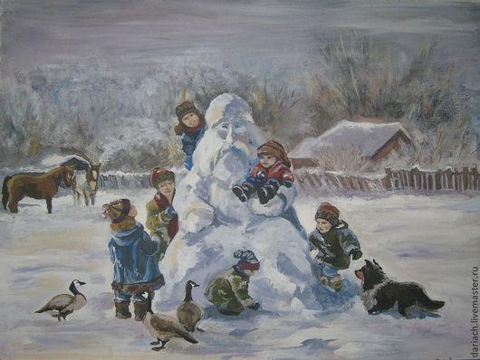 """Люди, ручной работы. Ярмарка Мастеров - ручная работа. Купить картина """"зимние каникулы"""". Handmade. Картина, картина гуашью, детство"""