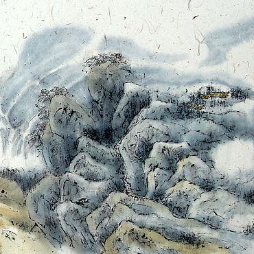 Картины и панно ручной работы. Ярмарка Мастеров - ручная работа Китайский пейзаж с водопадом(картина вода река горы акварель. Handmade.