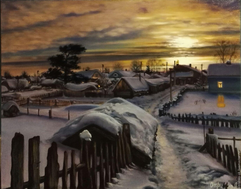 Картина маслом. Зимний вечер  в русской деревне, Картины, Новосибирск,  Фото №1