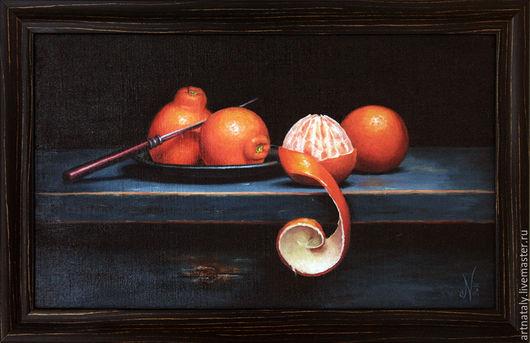Картина маслом `Натюрморт с клементинами` (масло, холст 30х50) Автор: Ермакова Наталья (Nataly)