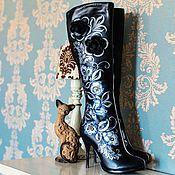 """Обувь ручной работы. Ярмарка Мастеров - ручная работа Сапоги """"Русские узоры"""" серебро. Handmade."""