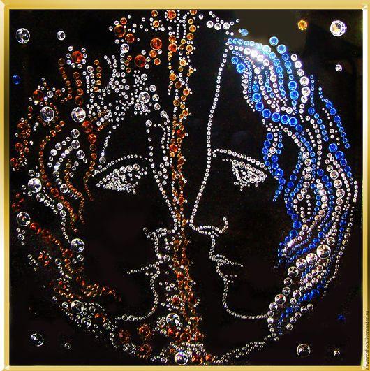 Этно ручной работы. Ярмарка Мастеров - ручная работа. Купить Картина Swarovski  Солнце и Луна. Handmade. Комбинированный, стразы сваровски