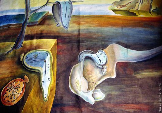 """Шали, палантины ручной работы. Ярмарка Мастеров - ручная работа. Купить Платок-картина шелк """"Преклонение перед Дали"""". Handmade."""