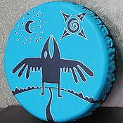 Музыкальные инструменты handmade. Livemaster - original item Raven. Tambourine Vedic turquoise. Handmade.